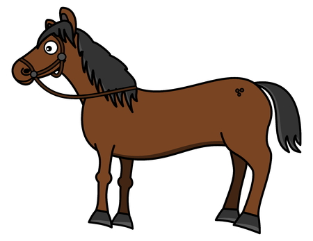 brown horse: a beautiful brown horse with hitch Illustration
