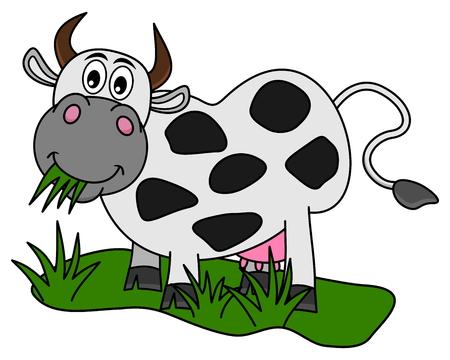 granja caricatura: enorme vaca comiendo en el campo