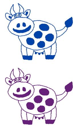 ruminate: smiling cow profile Illustration