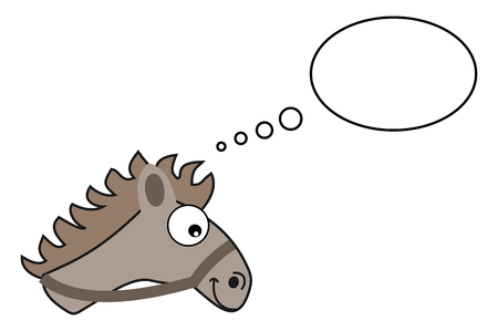 loveable: gray horse head with bubble Illustration