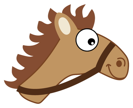 brown horse: brown horse head hitching Illustration
