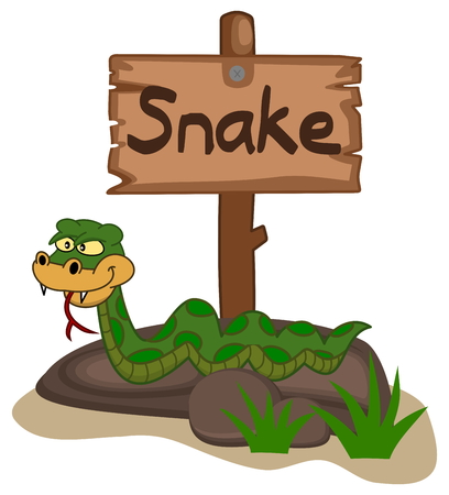 advertiser: snake on a rock with panel Illustration