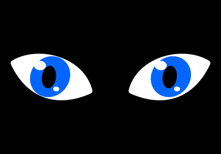 blue eyes on a black background
