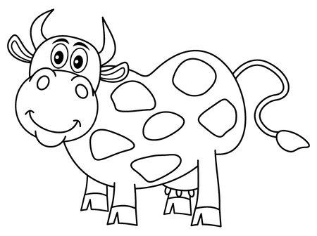 ruminate: smiling huge cow for coloring