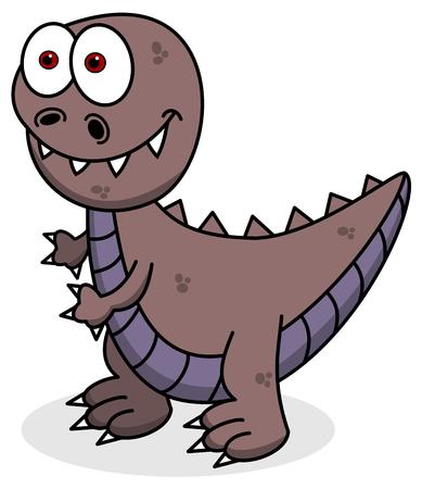 cartoon t rex: violet dinosaur smiling