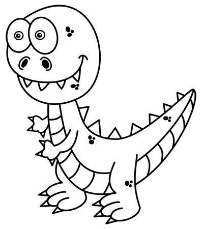 cartoon t rex: dinosaur for coloring Illustration