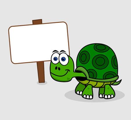 green turtle: green turtle with billboard Illustration
