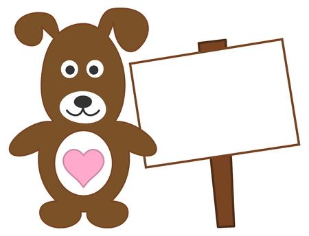 advertiser: cane in piedi con il cuore e tabellone per le affissioni