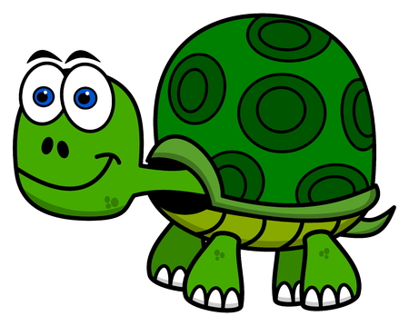 animal cartoon: smiling green turtle