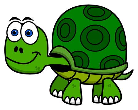 tortuga caricatura: sonriendo tortuga verde Vectores