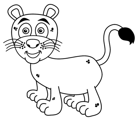 felidae: smiling young panther for coloring