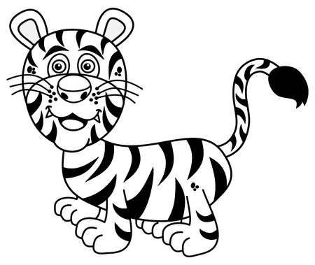 felidae: smiling young tiger for coloring