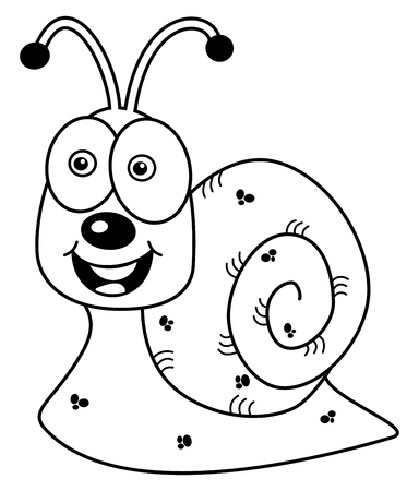 loveable: cheerful snail profile for coloring