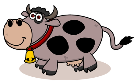 cow bells: a smiling cow on profile Illustration