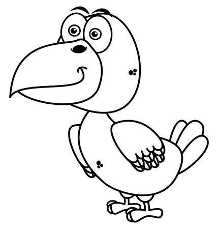fledgeling: a raven smiling for coloring Illustration
