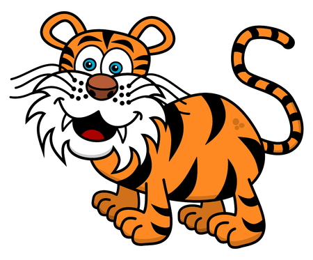 tawny: a tiger is smiling profile Illustration