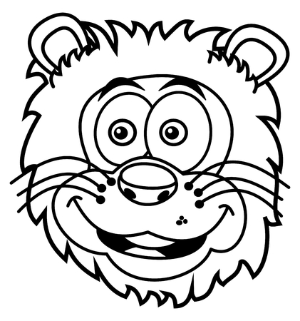felidae: lion head smiling for coloring