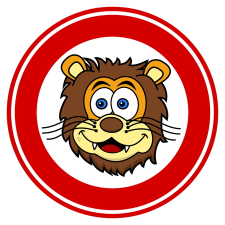felidae: lion head smiling in signaling panel Illustration