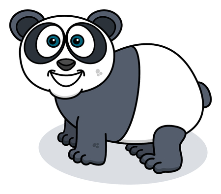 profiled: a smiling panda is profiled Illustration