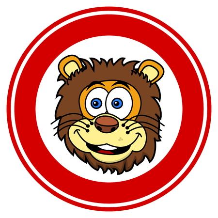 tawny: lion head smiling in signaling panel Illustration