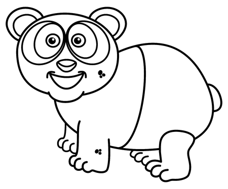 zoo as: a smiling panda for coloring Illustration