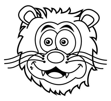 tawny: lion head smiling for coloring