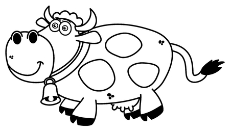 cow bells: a smiling cow coloring