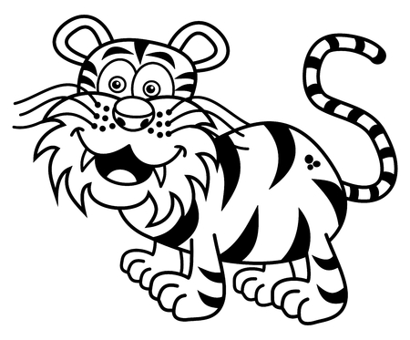 felidae: a tiger smiling for coloring