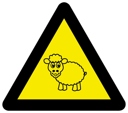 sheep road sign: panel of danger with sheep Illustration