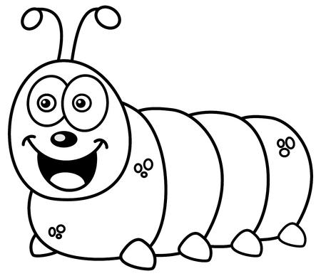 maggot: smiling caterpillar for coloring Illustration