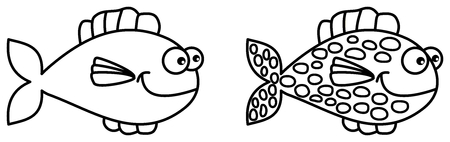 loveable: fish swimming for coloring