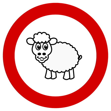 sheep road sign: prohibition sign with sheep Illustration