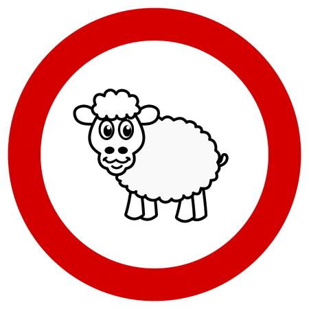 sheep warning: prohibition sign with sheep Illustration