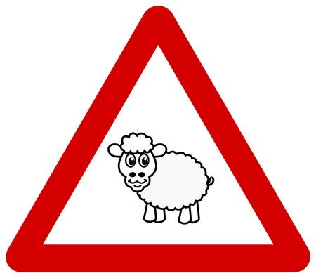 sheep warning: panel of danger with sheep Illustration