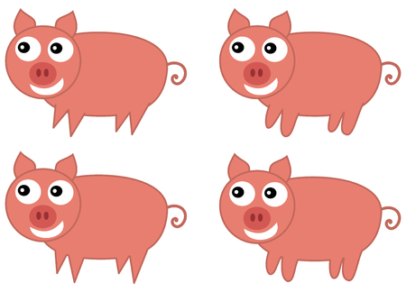 loveable: Several pigs with different paw