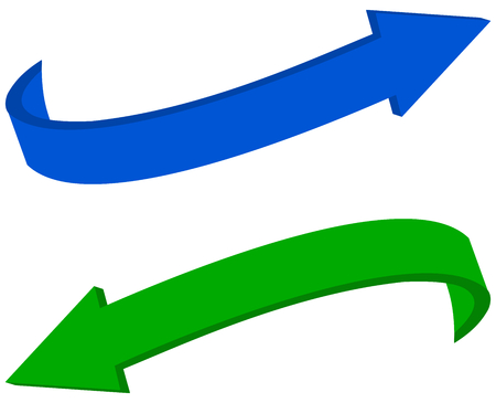 green arrows: curved blue and green arrows