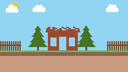 proprietary: Construction of a brick house Stock Photo