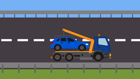 Tow truck picking up a vehicle on the road Stock Vector - 82111140