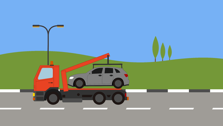 Tow truck picking up a car in town Stock Vector - 82169287