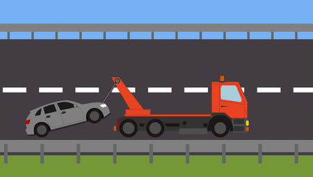 Tow truck picking up a vehicle on the road Stock Vector - 82111137