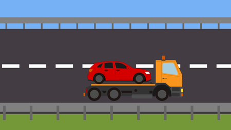 Tow truck picking up a vehicle on the road Stock Vector - 82111141