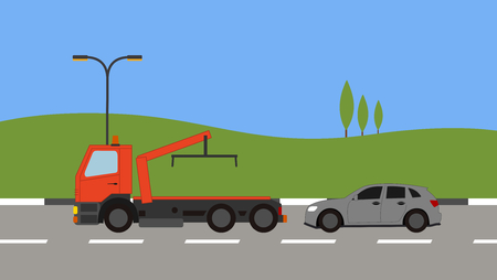 Tow truck picking up a car in town Stock Vector - 82169288