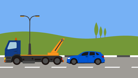 Tow truck picking up a car in town Stock Vector - 82169289
