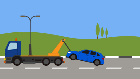 Tow truck picking up a car in town Stock Vector - 82169290