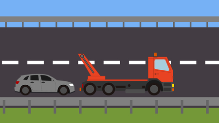 Tow truck picking up a vehicle on the road Stock Vector - 82111148