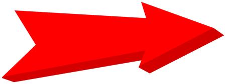 Red arrow pointed - 3D Illustration Ilustração
