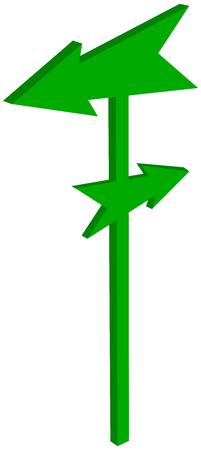 road sign with arrowhead arrowhead - 3D Illustration