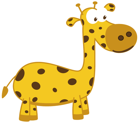 a young giraffe smiling and in profile Vector illustration.