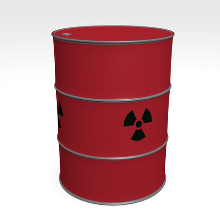 red barrel of radioactive waste - 3D Illustration Stockfoto - 120333897