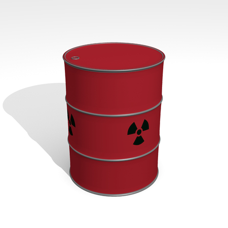 red barrel of radioactive waste - 3D Illustration Stockfoto - 120334184